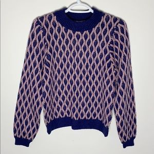 Urban outfitters lattice puff sleeve sweater S